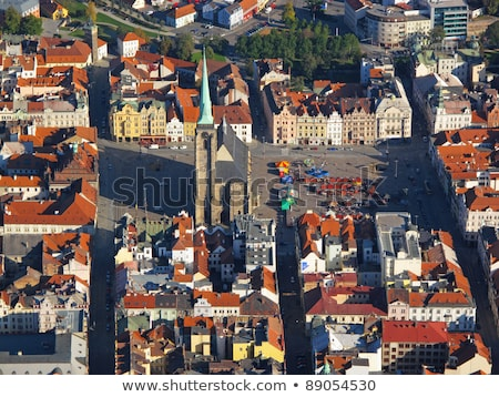 Old Town Hall on Republic Square in Pilsen - aerial view Stock photo © benkrut
