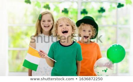 Aziz kız İrlandalı bayrak örnek seksi Stok fotoğraf © adrenalina