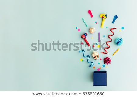 Verjaardagsfeest grens confetti Blauw oppervlak exemplaar ruimte Stockfoto © Lana_M