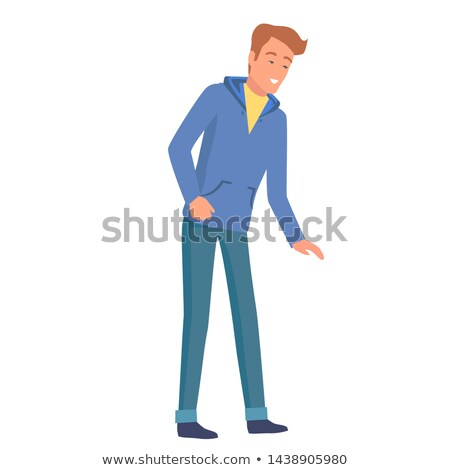 Cartoon Man in Hoodie Leans Forward Illustration Stock photo © robuart