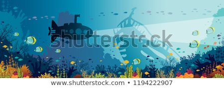 Silhouette Submarine undersea boat with fishes. Vector Stock photo © Andrei_