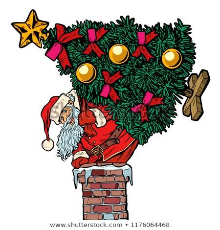 Mikulás karácsonyfa kémény izolált fehér pop art Stock fotó © studiostoks