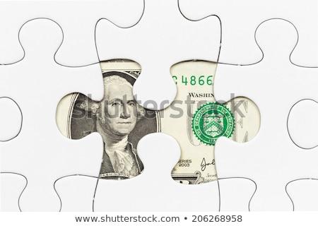 Dollár bankjegy kirakós játék rejtett fehér pénzügyi Stock fotó © kenishirotie
