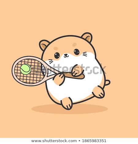 Karikatür hamster tenis örnek oynama mutlu Stok fotoğraf © cthoman