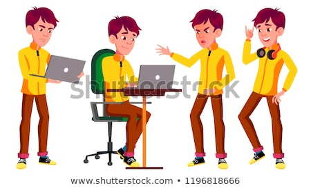 Teen Boy Poses Set Vector. Funny, Friendship. Laptop, Music. For Advertisement, Greeting, Announceme Stock photo © pikepicture