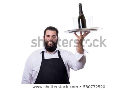 Sorridente garçom champanhe beber retrato Foto stock © AndreyPopov