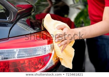 Usługi człowiek czyszczenia lampy pojazd myjnia Zdjęcia stock © Kzenon