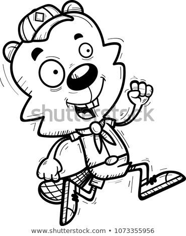 Cartoon Male Beaver Scout Running Stock photo © cthoman