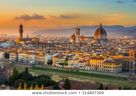 florence duomo aerial sunset view stock photo © xbrchx