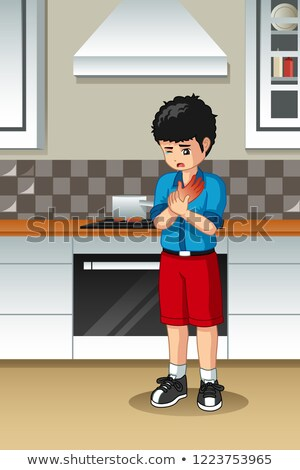 Boy Burned His Hand In The Kitchen Stock photo © artisticco