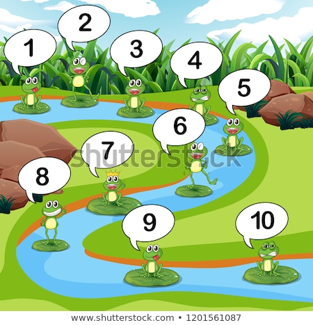 Kurbağa numara gölet örnek çim sanat Stok fotoğraf © colematt