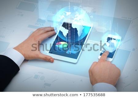 Stock fotó: üzletember · táblagép · Föld · hologram · üzlet · globalizáció