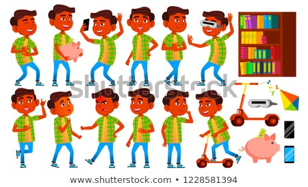 Boy Schoolboy Kid Poses Set Vector. Indian, Hindu. Asian. Primary School Child. Education. Subject.  Stock photo © pikepicture