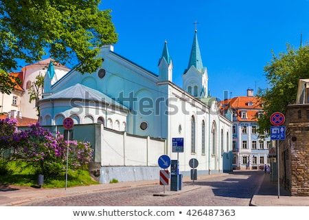 our lady of sorrows church in riga stock photo © benkrut