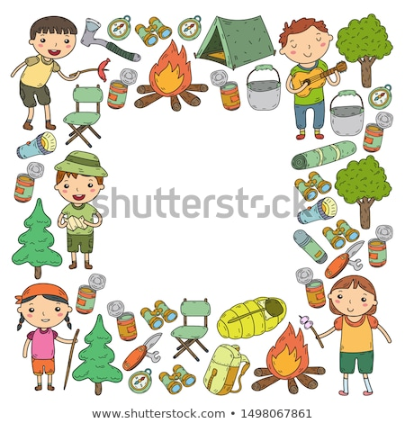 Kid Junge auskundschaften Wald singen Illustration Stock foto © lenm