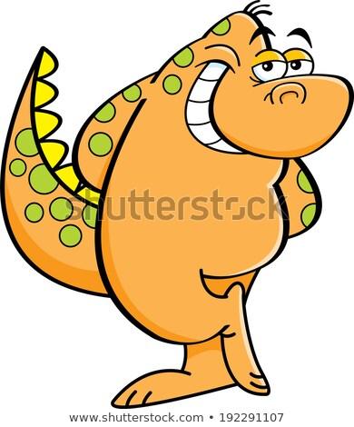 félénk · dinoszaurusz · rajz · illusztráció · izolált · fehér - stock fotó © bennerdesign