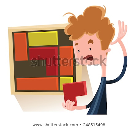 Puzzled businessman trying to solve a puzzel cube Stock photo © Minervastock