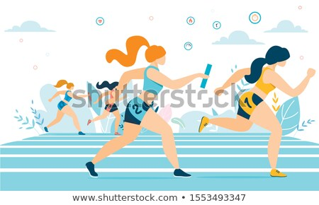 Marathon course style rétro illustration silhouette coureur Photo stock © patrimonio