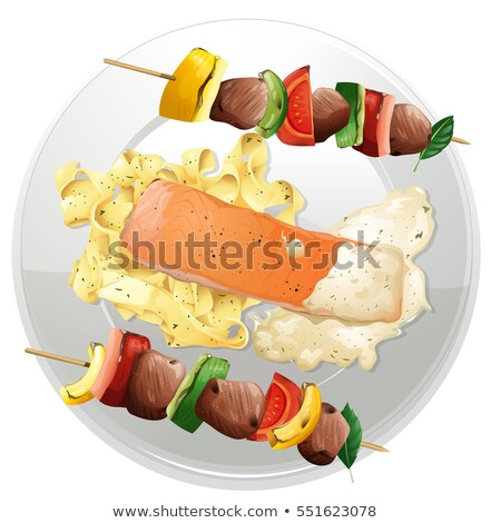 Salmon fillet and pasta with two beef bbq on the plate Stock photo © colematt