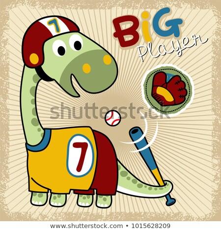 desenho · animado · dinossauro · taco · de · beisebol · bandeira · ilustração · assinar - foto stock © bennerdesign
