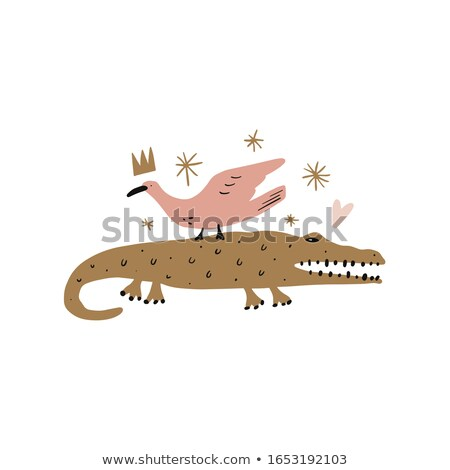barátságos · rajz · aligátor · retro · gondolkodik · rajz - stock fotó © marysan