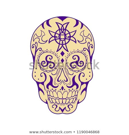 Mexican Skull  With Triskele and Celtic Cross Tattoo Stock photo © patrimonio