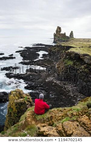 Guy looks at the rocks of Londrangar in Iceland Stock photo © Kotenko
