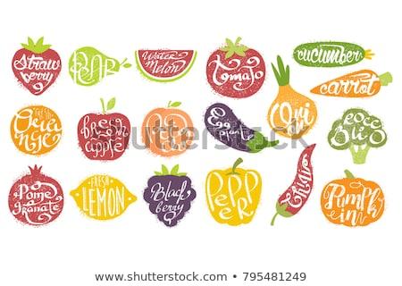 персика фрукты логотип икона дизайна продовольствие Сток-фото © blaskorizov