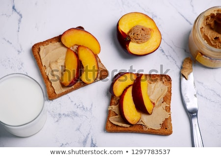 Zdjęcia stock: Peanut Butter Toast With Peach And Milk