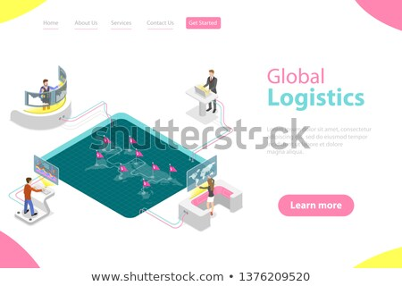 Isométrica vetor aterrissagem página modelo global Foto stock © TarikVision