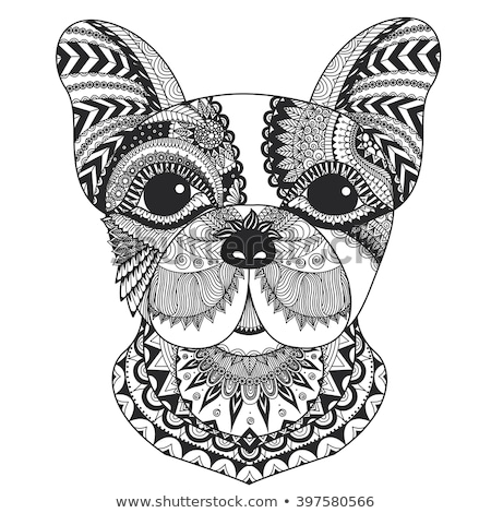 Dog zentangle styled with clean lines for coloring book for anti stress, T - shirt design, tattoo an Stock photo © Natalia_1947