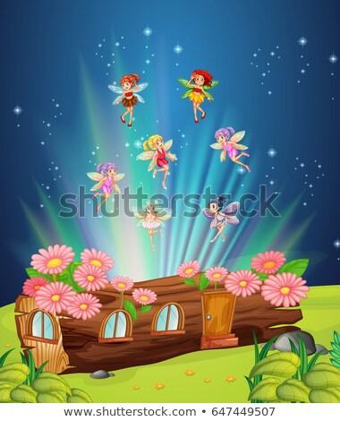 Fairies flying over the log house Stock photo © colematt
