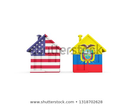 Two houses with flags of United States and ecuador Stock photo © MikhailMishchenko