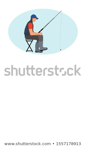 Fishing Leisure Activity Poster with Man on Chair Stock photo © robuart