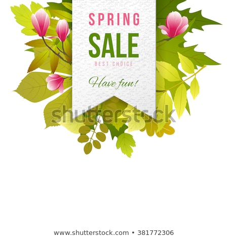 spring sale text with green branches nature background stock photo © barbaliss