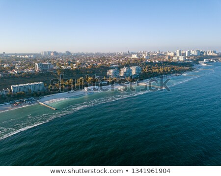 Aerial view from drone marine cityscape of town Odesa, Ukraine on a background of clear blue sky in  Stock photo © artjazz