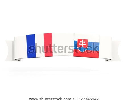 Banner twee vierkante vlaggen Frankrijk Slowakije Stockfoto © MikhailMishchenko