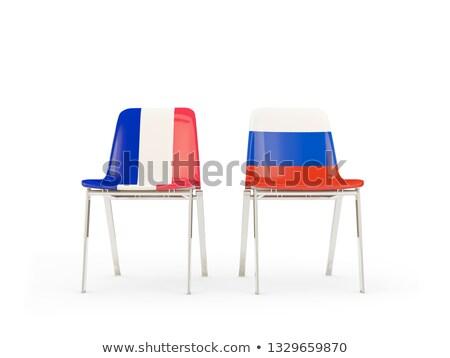 два стульев флагами Франция Россия изолированный Сток-фото © MikhailMishchenko