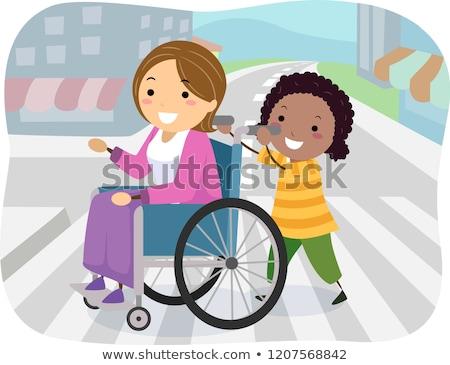 Stickman Kid Girl Cross Street Wheelchair Stock photo © lenm