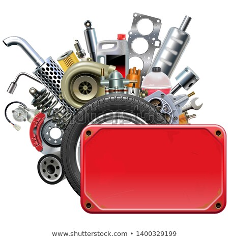 Vector Red Frame with Car Spares Stock photo © dashadima
