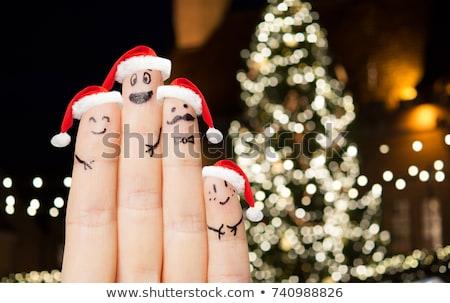 Dedos árbol de navidad vacaciones partes del cuerpo Foto stock © dolgachov