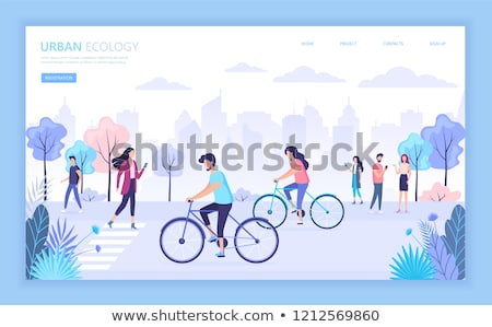 Boy and girl cycling - flat design style colorful illustration Stock photo © Decorwithme