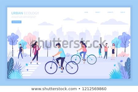 kadın · devir · aktif · hayat · kadın · bisiklete · binme - stok fotoğraf © decorwithme