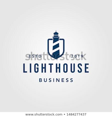 Azul farol design de logotipo negócio água casa Foto stock © djdarkflower