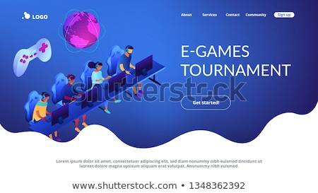 Cybersport team isometric 3D landing page. Stock photo © RAStudio