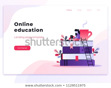 Stockfoto: E-library landing page template.