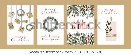 Merry Christmas Greeting Card Spruce Branch Candle Stock foto © robuart