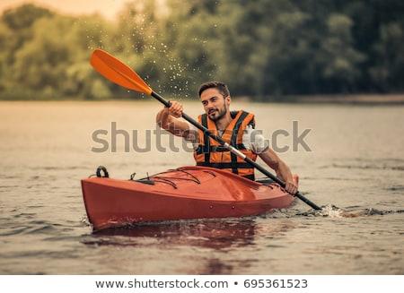 uomo · fiume · maschio · rosso · gonfiabile · canoa - foto d'archivio © deandrobot