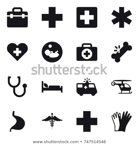 Stethoscope and silhouette of a cross. First aid medical sign, flat vector icon for apps, website, l Stock photo © kyryloff