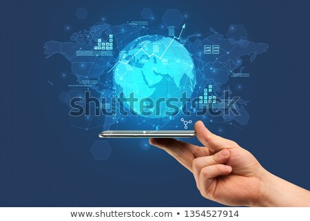 Mano tocar teléfono global informe Foto stock © ra2studio